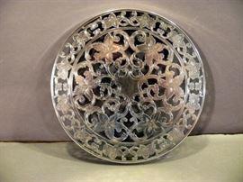 "Vintage Webster Sterling Silver Overlay Thick 6"" Glass Trivet   https://www.ctbids.com/#!/description/share/14439"