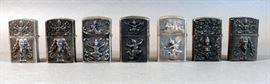 Vintage Sterling Silver Siam Zippo Lighter Covers assorted lot of 7        https://www.ctbids.com/#!/description/share/15124
