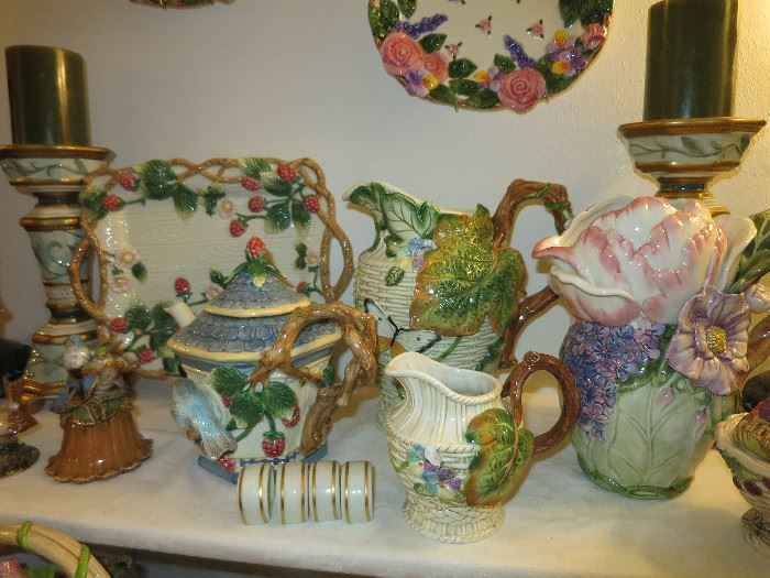 Fitz and Floyd Lovely Raspberry, Blackberry Platter And Teapot,  Butterfly, Fauna and Flora