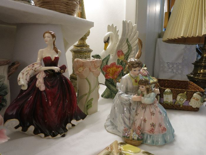 Royal Doulton Pretty Ladies Happy Birthday Figurine,  Fitz and Floyd Swan Pitcher, Vase, Mother Daughter Figurine/Music Box