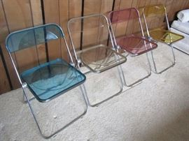 Retro 1970 Chrome & Acrylic Folding Chairs. Awesome!