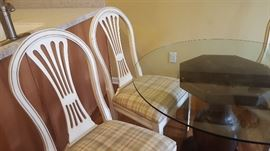 $60  White chairs with plaid seats