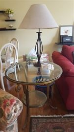 $50    glass round table with gold trim base   $30