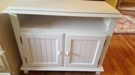 """$75   white media cabinet with swivel top measures 38"""" x 18"""""""