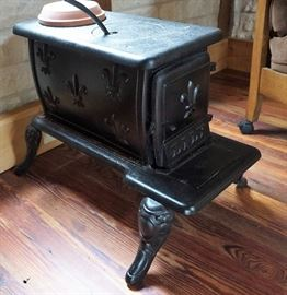 Decorative wood stove end table