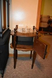 Antique Smoking Cabinet or Side Table with Depression Clear Covered Dish and Service Plate