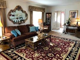 Flexsteel sofa, 9x12 Handwoven India Rug, Ornate mirror