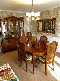 Thomasville dining room table, Thomasville china cabinate, ornate mirror