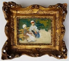 Miniature Park Oil: One of Four Frederick McDuff French Impressionist Subject Paintings from a DuPont Circle, Washington, DC Socialite.