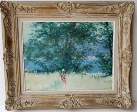Meadow Oil: One of Four Frederick McDuff French Impressionist Subject Paintings from a DuPont Circle, Washington, DC Socialite.