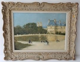 Tuileries, Paris, France: One of Four Frederick McDuff French Impressionist Subject Paintings from a DuPont Circle, Washington, DC Socialite.