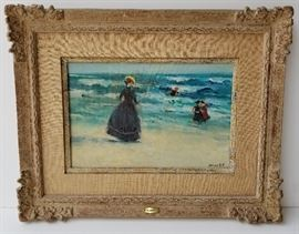 Beach Oil: One of Four Frederick McDuff French Impressionist Subject Paintings from a DuPont Circle, Washington, DC Socialite.