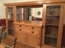 1917 gorgeous oak wall unit  8 ft wide, 5ft 6 inches tall, 1ft 2 inches deep $985