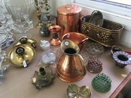 copper, brass, floral frogs