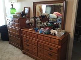 Matching dresser, mirror, chest and bed