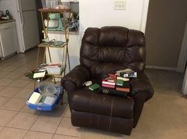 LaZboy rocker recliner - interesting fold up shelf unit