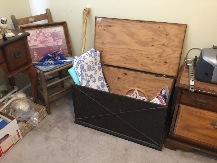 Cedar chest, chair & pictures