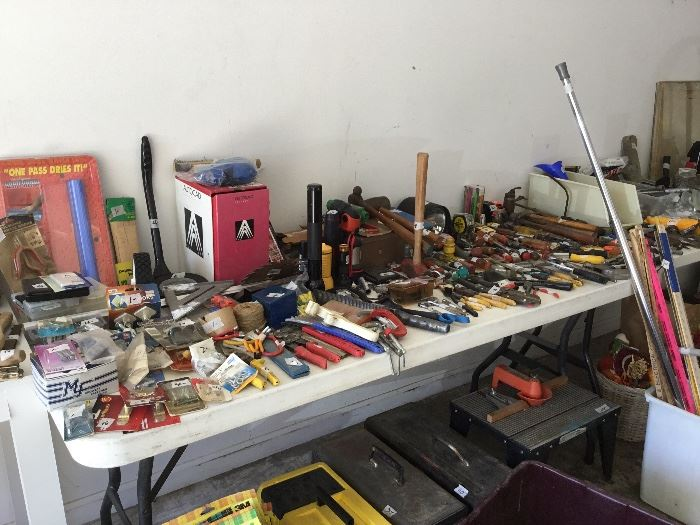 Lots of tools of all kinds in garage
