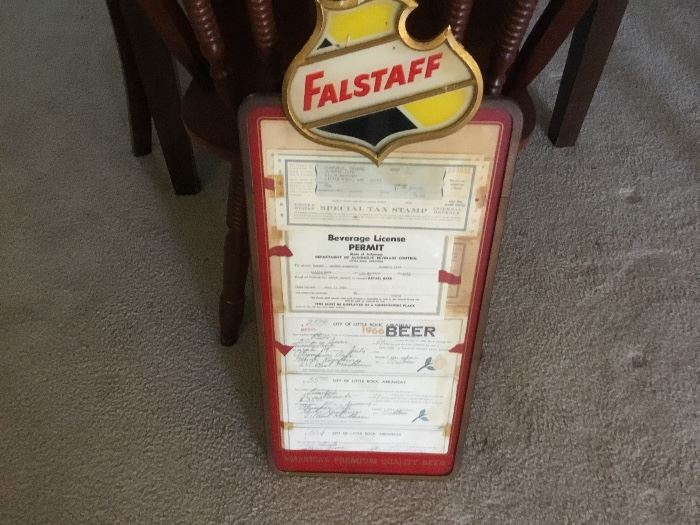 Vintage Falstaff signage - this one holds beer permits from 1960's