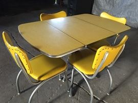 Sweet Bright Yellow Formica Set, newly reupholstered & freshly powder coated legs. Beyond cool!