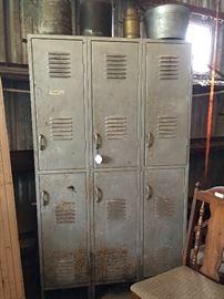 Vintage Set of Gym Lockers (6 Lockers Total)