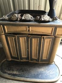 Very Old Franklin Wood Burning Stove with Ornate Feet Portland Stove Founder Co.