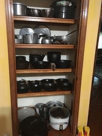 Large Collection of Cast Iron Pots ( over 40) Collection of Magnalite Pots, Gumbo Pots, Large Hitachi Rice Cooker Roasters, Coffee Makers, Small Appliances, etc