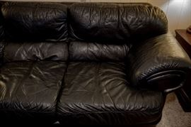 Black leather sofa, loveseat and chair (recliner not pictured)