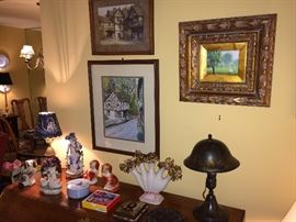 Antique Greist lamp (New Haven, CT); many fine framed prints and some original artwork.