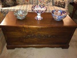 Blanket chest; English compote; Imari bowl.