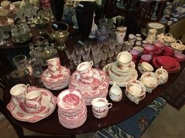 Johnson Bros. dinnerware; Antique castor set (background); many pieces of Edinburgh Scotland crystal glassware.