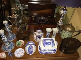 19th-century English tea caddy (back row center); antique enamelware teapot; second antique tea caddy (lower righthand corner).  Many rare and interesting tea-related items at this sale.