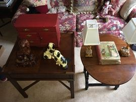 Antique Bennington Rockingham dog; antique children's chest; bakelite lamps; antique children's books.