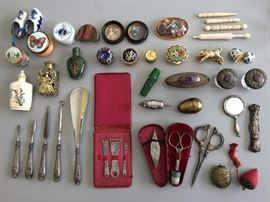Many antique sewing-related items and other precious smalls.