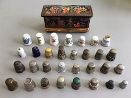 Thimble collection; Ardleigh Elliott & Sons numbered Russian porcelain music box.