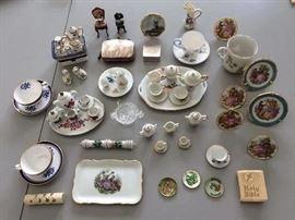 Miniature tea sets, miniature porcelain plates with stands; other smalls.