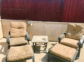 2 Glider Patio chairs w/ ottomans and common table