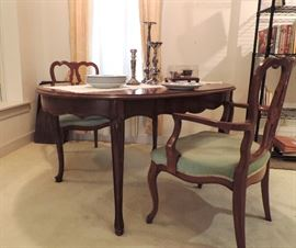 French Provincial Style Dining Table and 3 Leaves & 2 Arm Chairs