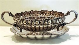 Silver Plate Scalloped Bowl and Under Plate