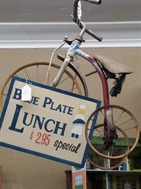 Antique bikes and toys