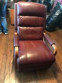 #5 Lazy-boy Burgandy mid-century style recliner $200.00