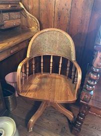 #8 Oak Desk Chair on wheels $75 each (2) $150.00