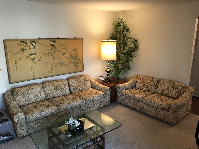 Selig of Monroe vintage Couch, Loveseat, and a matching glass top table. All in excellent condition, except the back right leg of loveseat needs some work.  Fabric free of damage or wear!