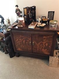 Vintage Asian style inlay cabinet!  Dimensions= 28H, 16D, 31W. Excellent quality!