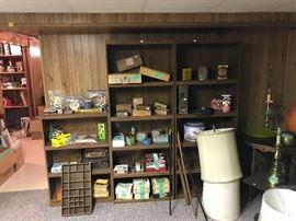 Lamp based and shades. Cigar boxes. Vintage toys. Tins including gun powder tins!