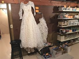 Vintage wedding gown.  Canning items. Crafting items.