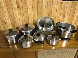 Copper bottom Revereware Pots and Pans set.