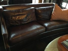 Pair of leather nail head finished soft comfortable couches, purchased for $5000.  Selling for $950 each approximately 5' 10""