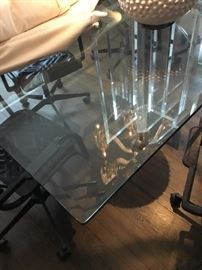 Large beveled glass table base not included $175. (Purchased $450)