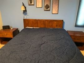 Headboard, side tables, sleep number bed